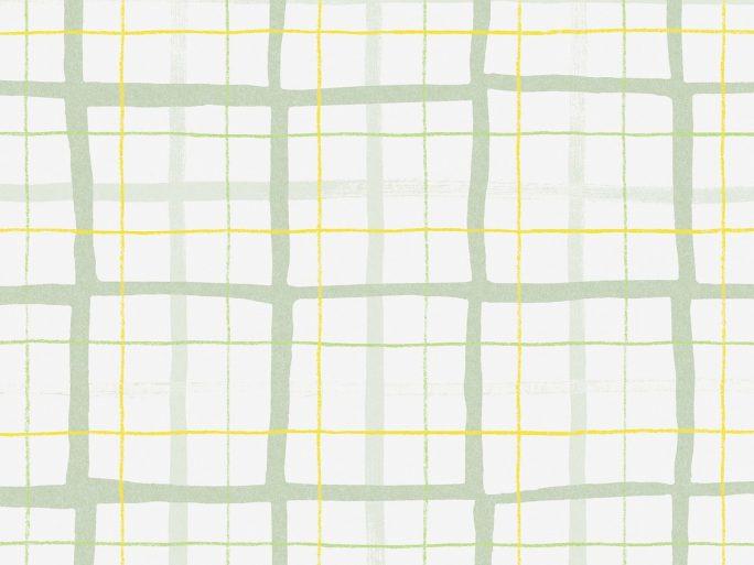 Papel Pintado RUT Cuadros Verde y Amarillo