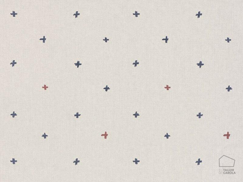 069ine_cro6900001 Papel Pintado Geometrico Cruces Azul y Rojo