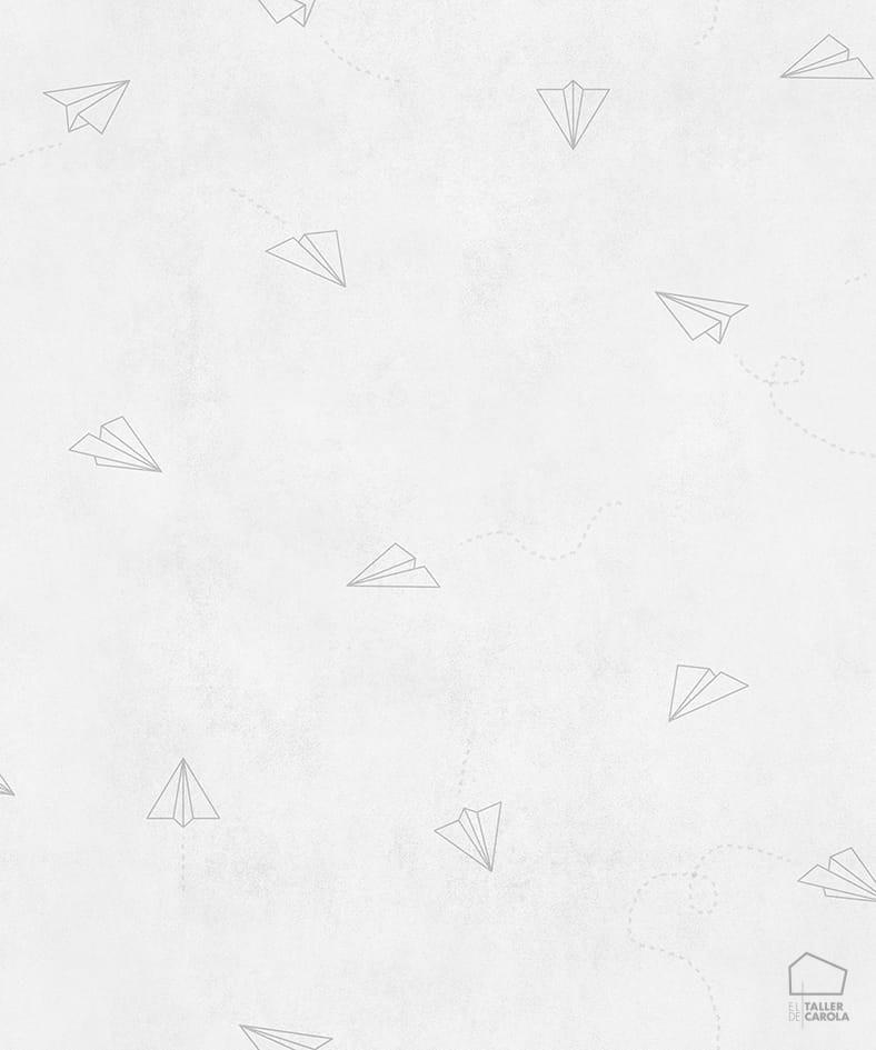 Papel Pintado Avioncitos Blanco