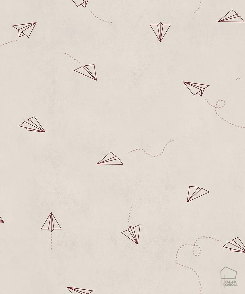 Papel Pintado Avioncitos Cereza