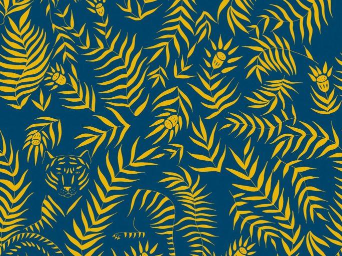 papel pintado jun hojas blanco y mostaza inspiraci n vegetal On papel pintado pato azul y amarillo mostaza