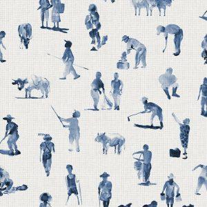 Papel Pintado Campesinos Azul