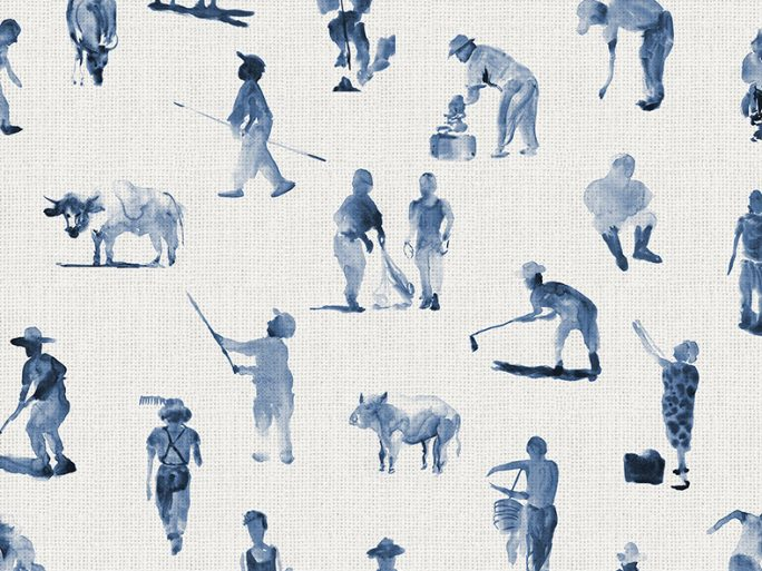 Papel Pintado Gente Campo Azul