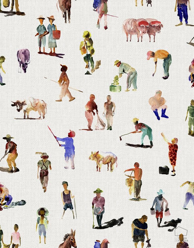 Papel Pintado Campesinos Colores