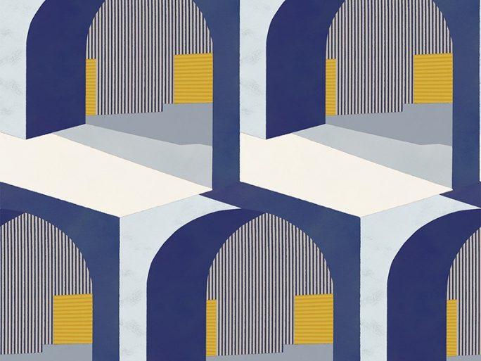 Papel Pintado Arcos Azul