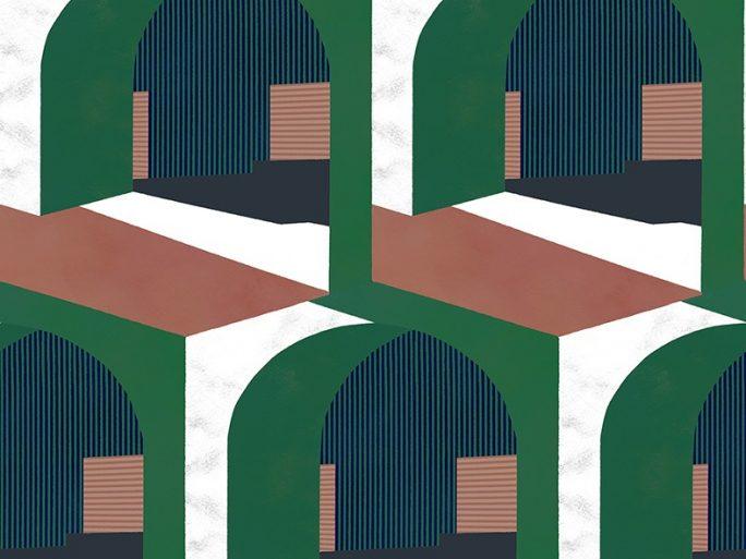 Papel Pintado Arcos Verde