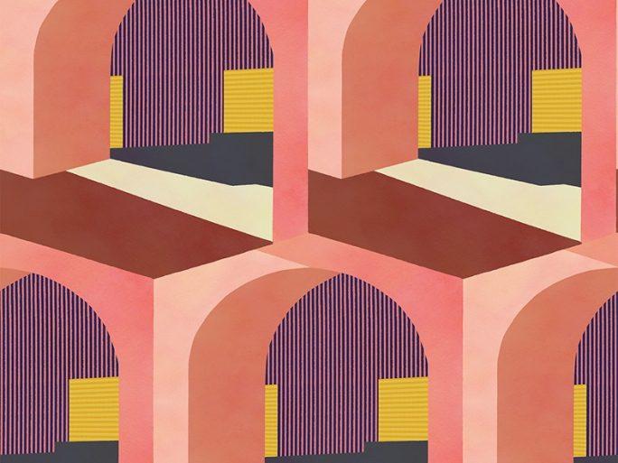 Papel Pintado Arcos Rosa