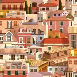 Papel Pintado Casitas Mediterráneo Rosa