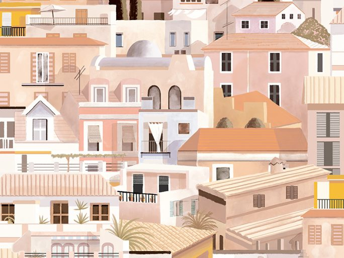 Papel Pintado Casitas Mediterráneo Rosa Palo