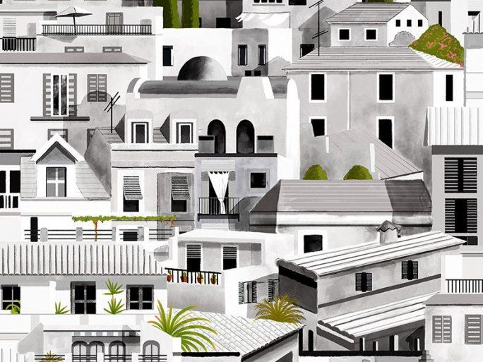 Papel Pintado Casitas Mediterráneo Gris
