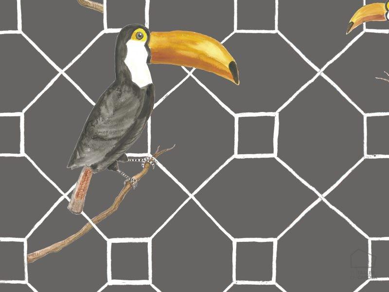 069max5900030 Papel Pintado Animales Pelícanos Gris