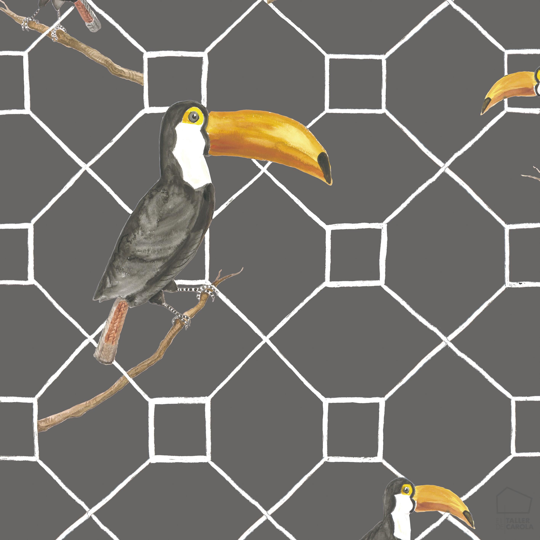 Papel pintado pel canos gris animales tropicales - Papel pintado animales ...