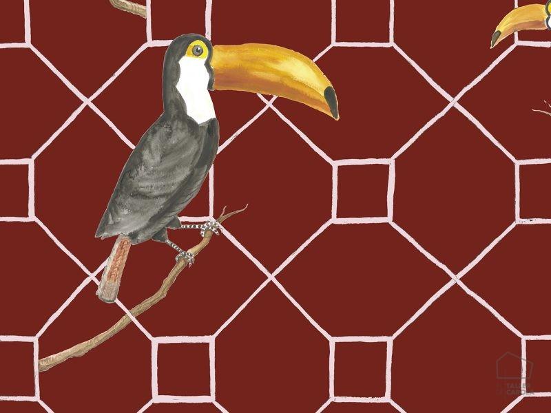 069max5900031 Papel Pintado Animales Pelicanos Granate