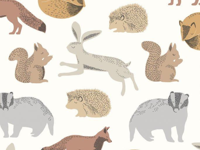 Papel Pintado Infantil Nórdico Animalitos Tierra