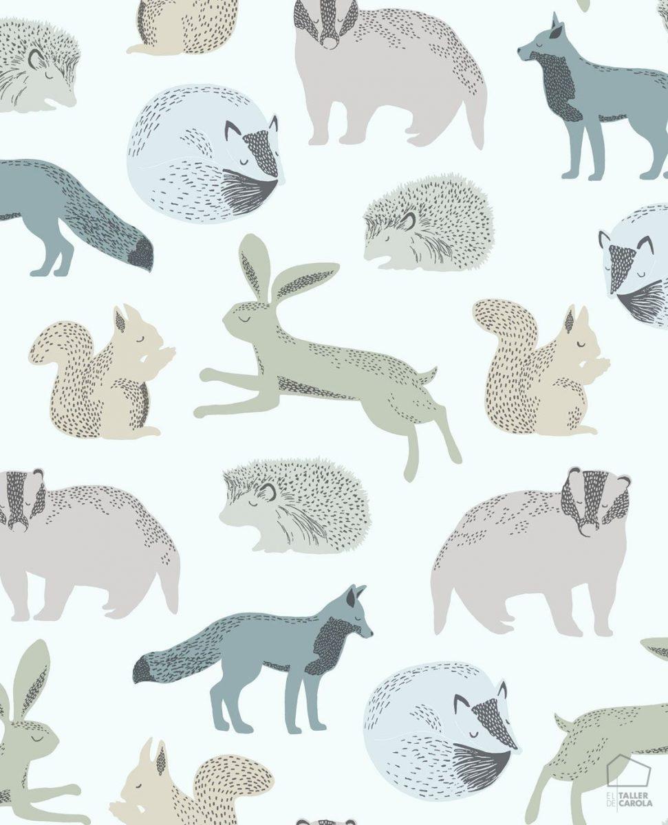 Papel Pintado Infantil Nórdico Animalitos Azules