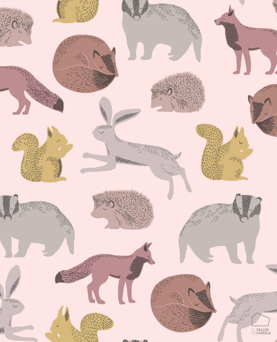 Papel Pintado Infantil Nórdico Animalitos Rosas