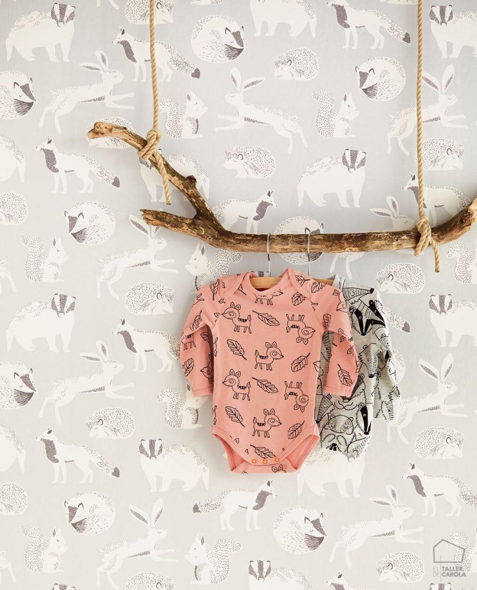 Papel Pintado Infantil Nórdico Animalitos Gris