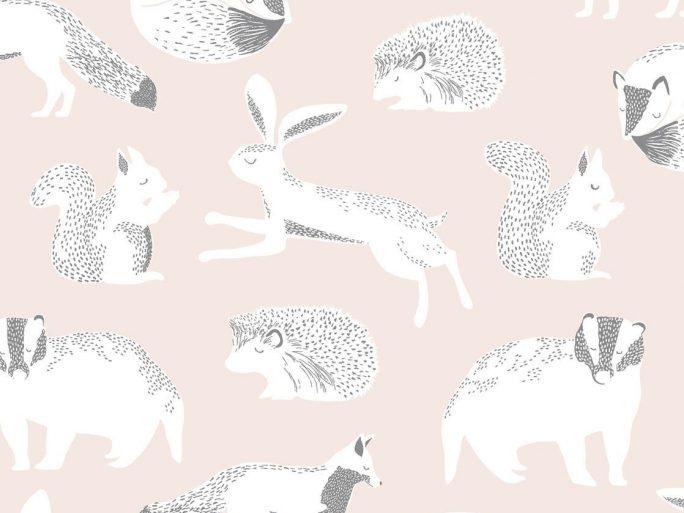 Papel Pintado Infantil Nórdico Animalitos Rosa Palo