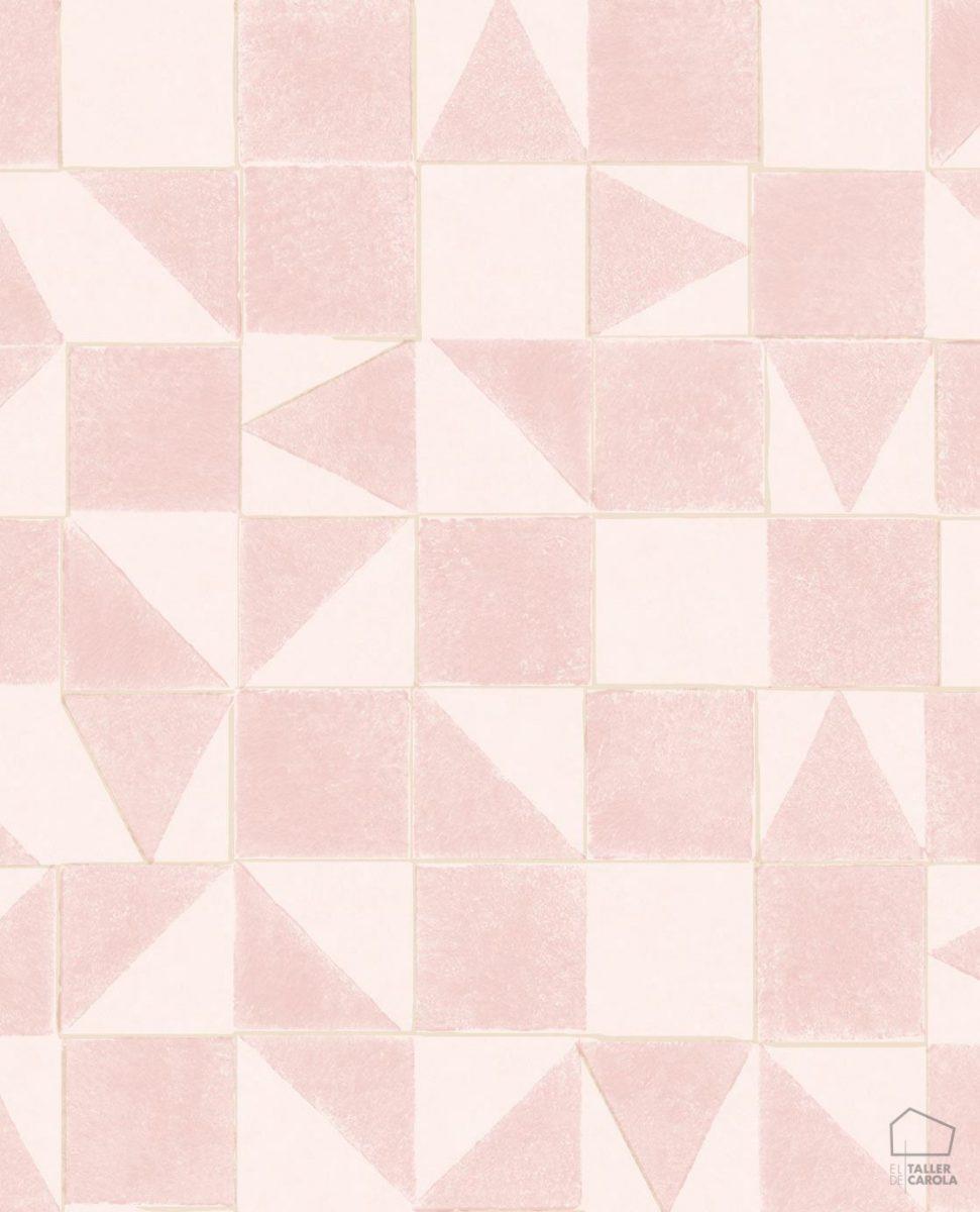 Papel Pintado MIN Geométrico Rosa