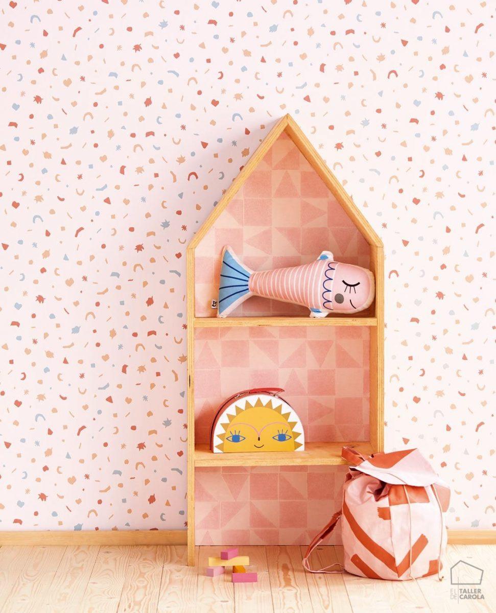 Papel Pintado Estampado Nórdico Rosa