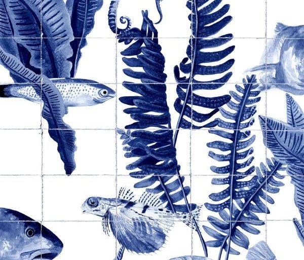 Papel Pintado BAN Peces Azul Azulejos