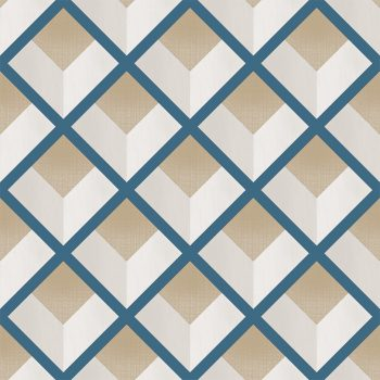 069vin6600011 Blue Geometric Rhombs Wallpaper