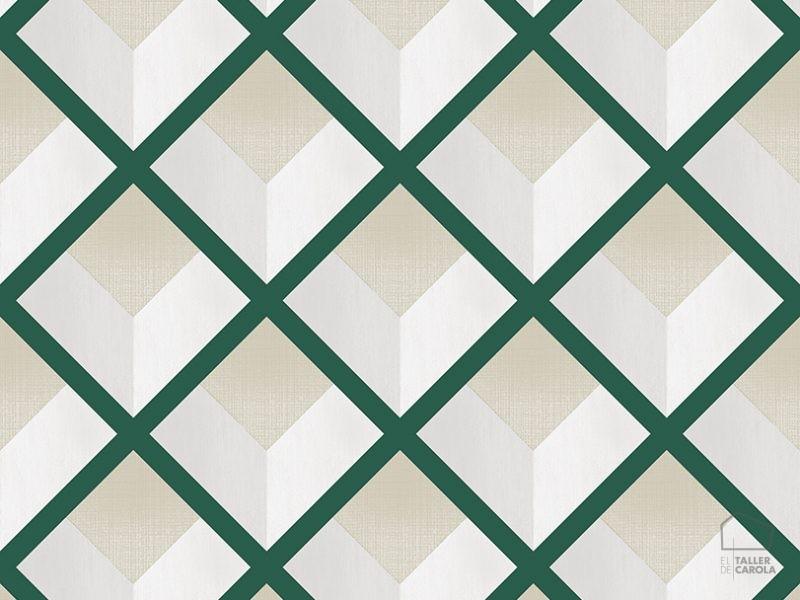 069vin6600015 Papel Pintado Geometrico Rombos Verdes