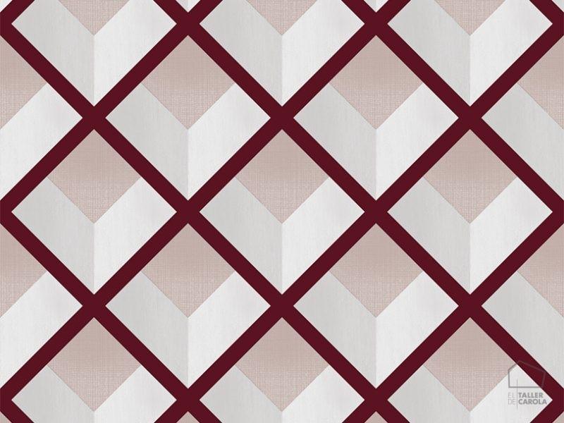 069vin6600016 Papel Pintado Geometrico Rombos Rojo