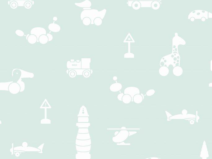 Papel Pintado Infantil BRI-ICO Juguetes Verde Agua