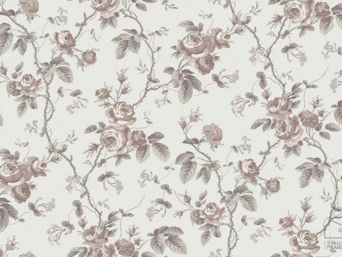 Papel Pintado FRE Flores Vintage Marrón