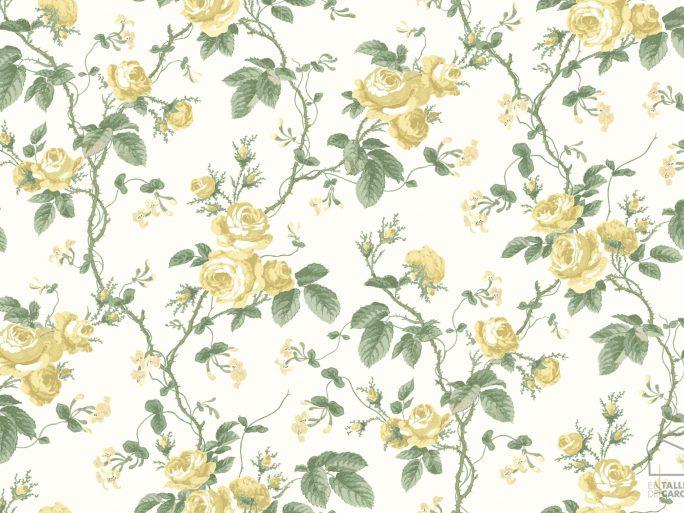Papel Pintado FRE Flores Vintage Amarillo