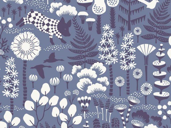 079hop1453 Papel Pintado Nórdico Bosque y animales Azul