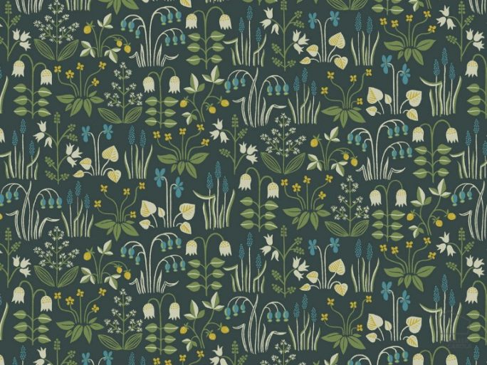 Papel Pintado Nórdico Flores estilo Verde