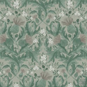 Papel Pintado THI Flores Vintage Verde