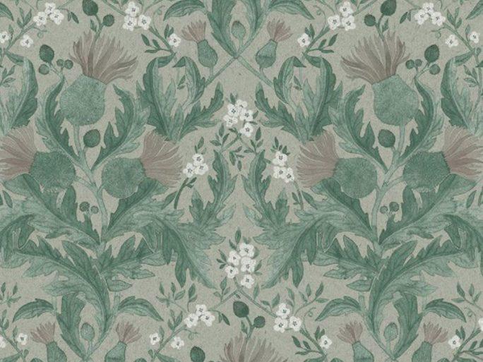 Papel Pintado Flores Vintage Verde