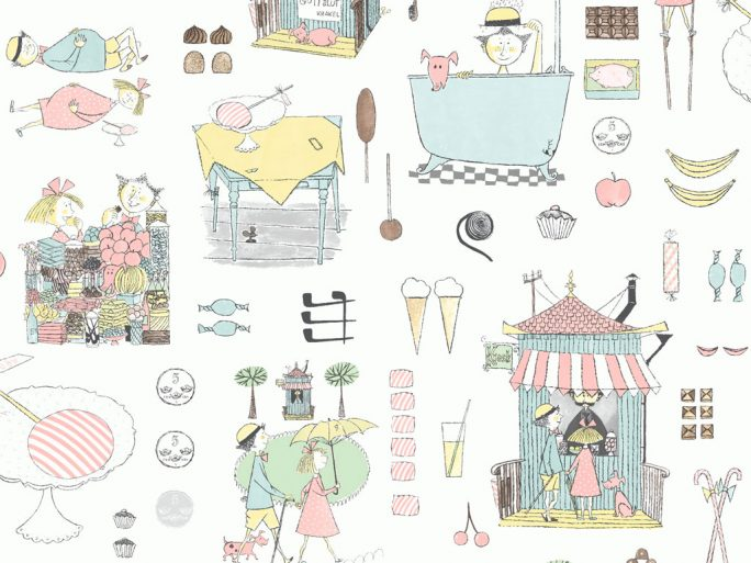 Papel Pintado Infantil KRA Dibujos Pastel