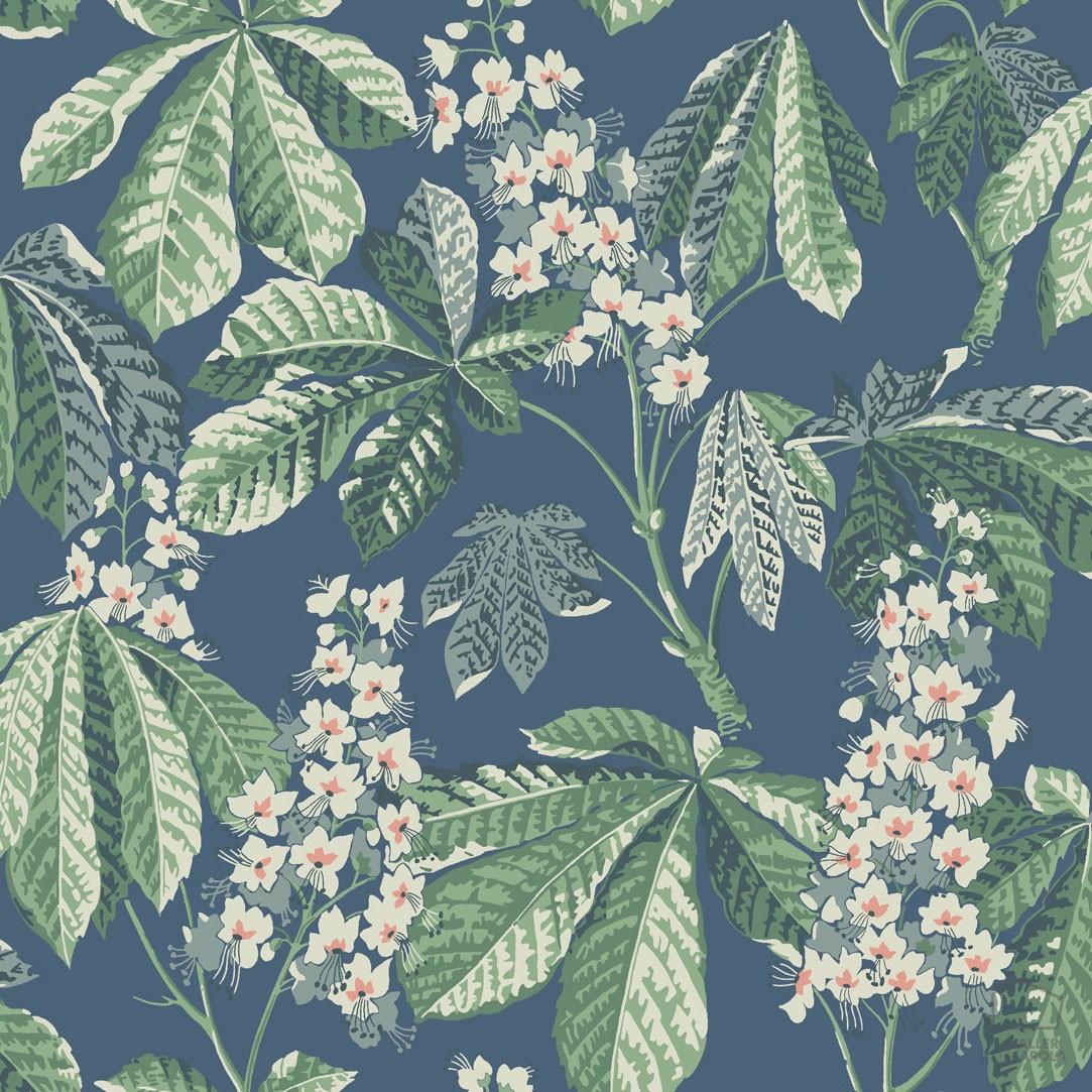 Papel Pintado CHE Vegetal Flores y Hojas Azul