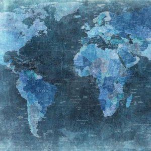 Mural MapaMundi Antiguo Azul