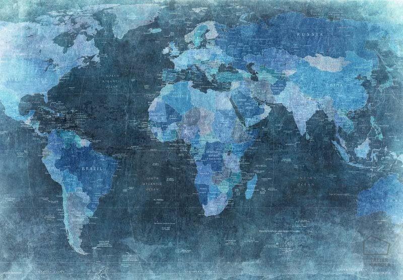080mapr10773 Papel Pintado Mural Mapa Azul
