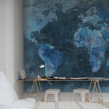 080mapr10773 Papel Pintado Mural Mapa Mundi Antiguo Azul