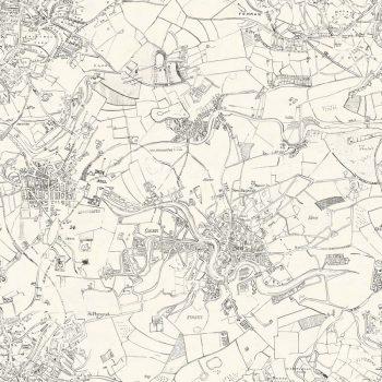 Mural mapa ciudad y campos en blanco y negro - Papel pintado mapa ...