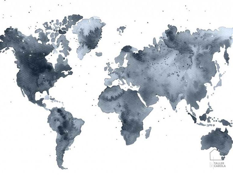 Mural mapamundi color azul acuarela el taller de carola - Papel pintado mapamundi ...
