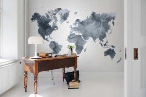 080mapr13432 Papel Pintado Mural Mapa Mundi Acuarela Azul