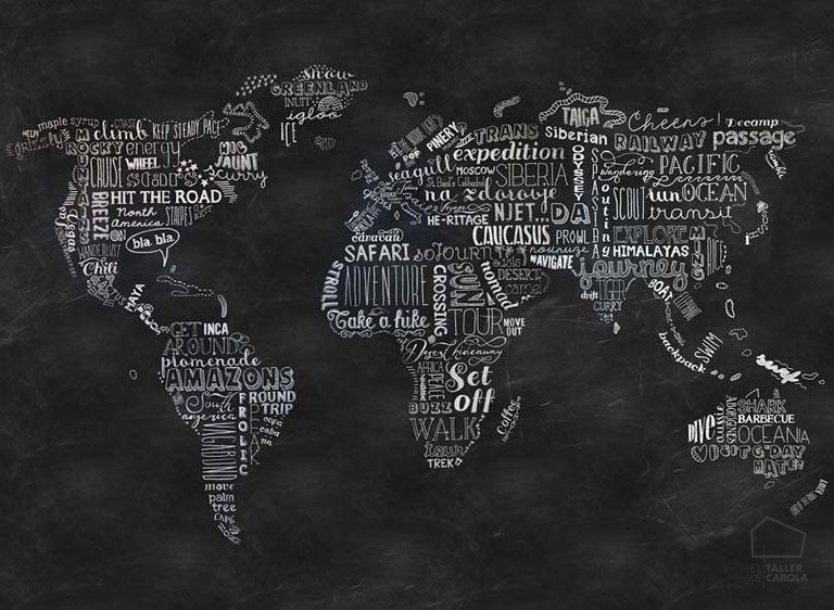 Mural mapa mundi pizarra murales que potencian la - Mural mapa mundi ...
