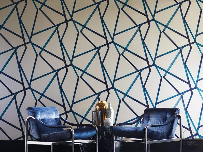 083110887mom Papel Pintado Geométrico Azul