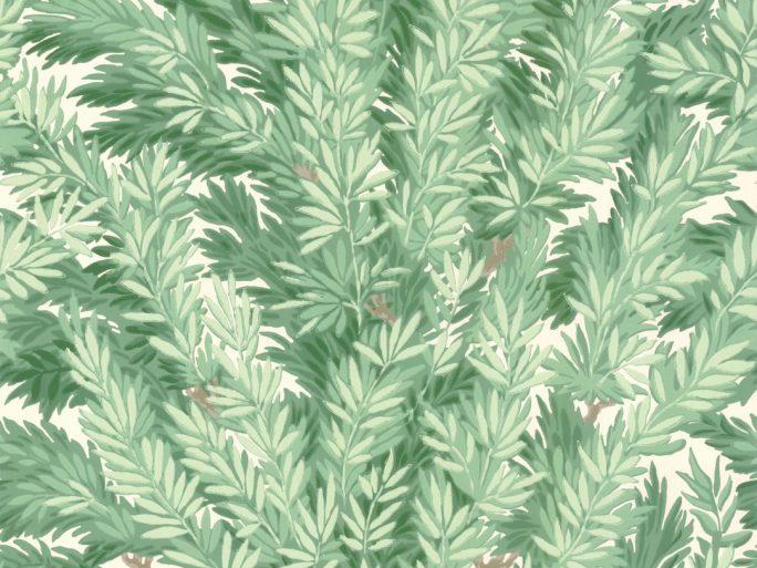Papel Pintado Hojas Frondosas Verde