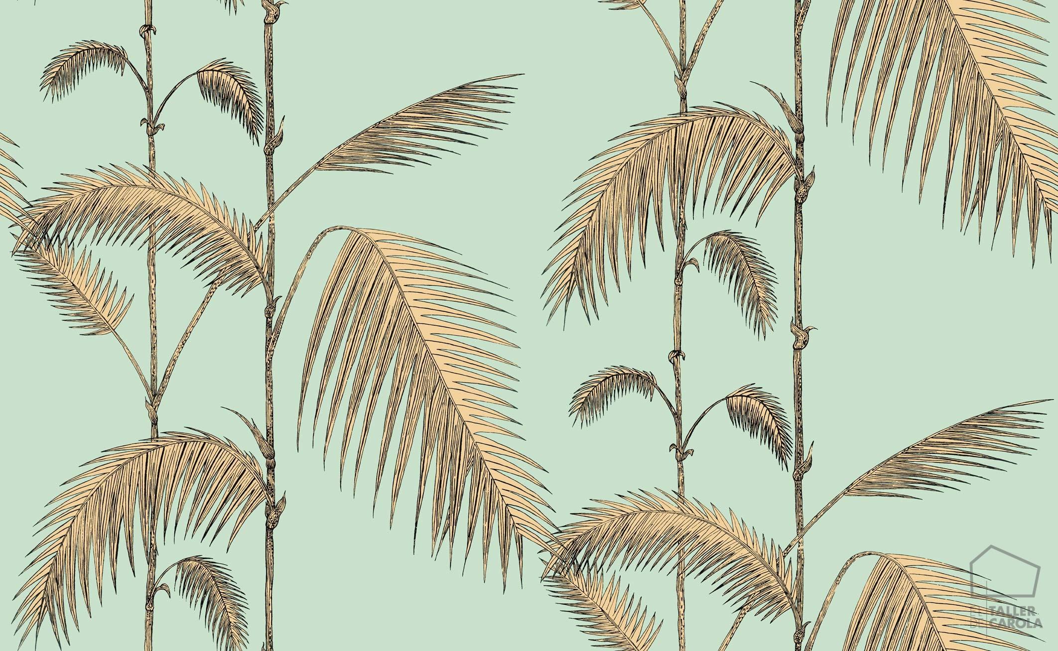 papel pintado palmeras ocre el taller de carola
