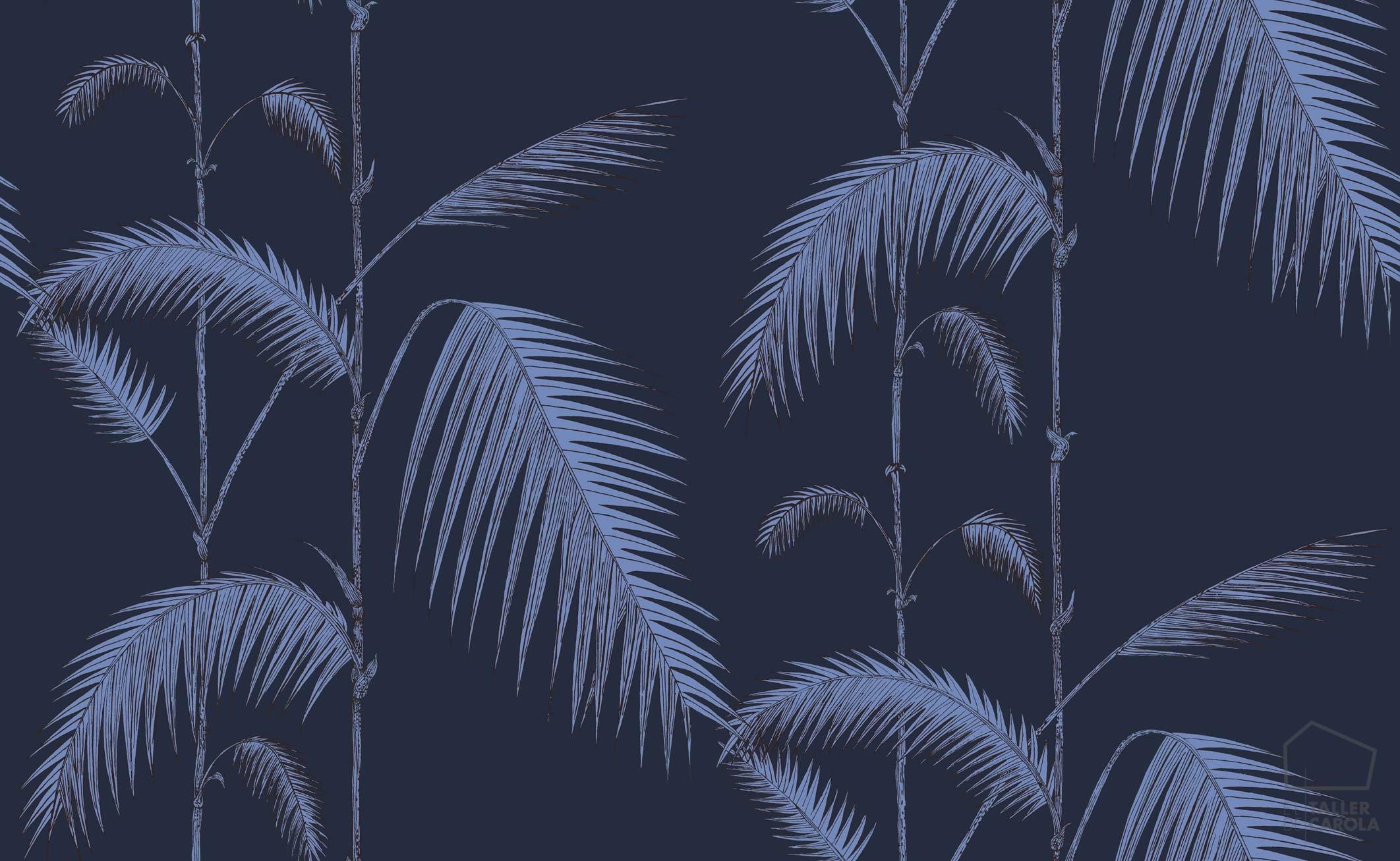 083icojun112_2008 Papel Pintado Vegetal Hoja Palmera Azul