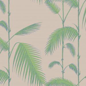 Papel Pintado Palmeras Hojas Verde y Topo