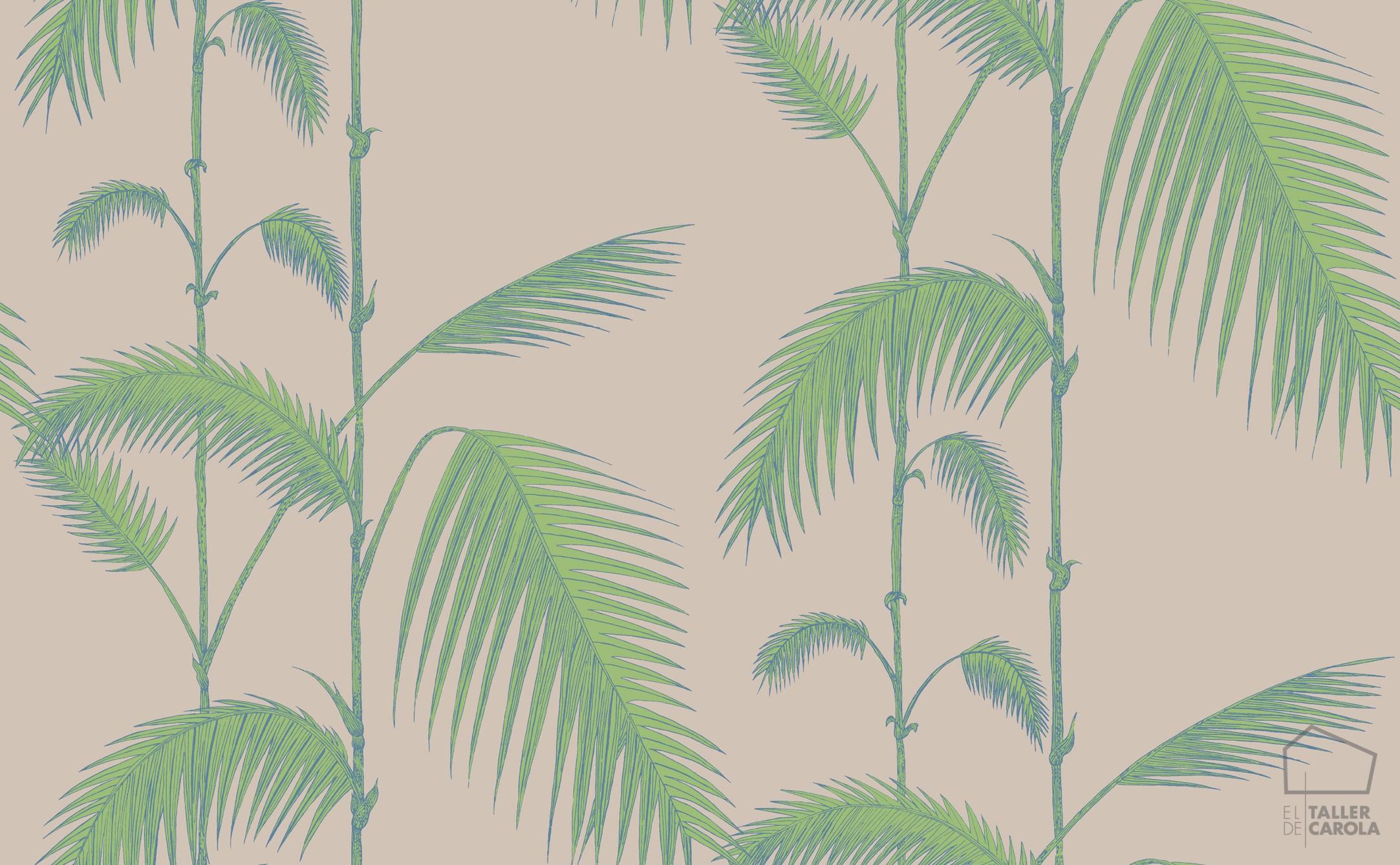 083pal-lea-66-2011 Papel Pintado Palmeras Hojas Verde y Topo